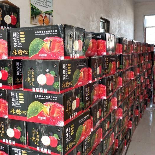 山東省濟南市商河縣冰糖心蘋果 80mm以上 條紅 光果