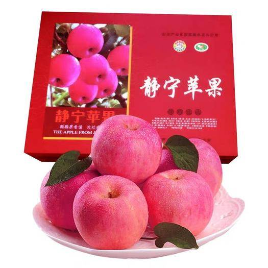 甘肅省平涼市靜寧縣 靜寧水晶紅富士蘋果85mm精品鮮果12顆精美禮盒裝產地直供