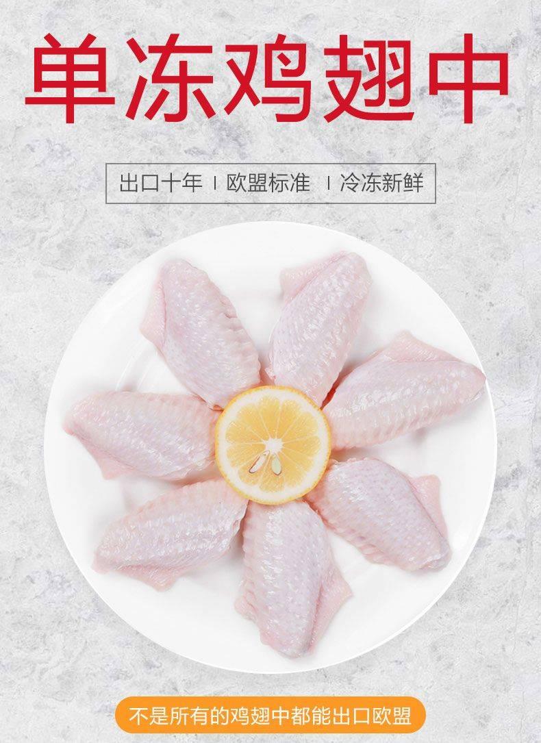 [翅中批发] 鸡翅中2kg新鲜冷冻生鸡中翅鸡肉奥尔良中翅烧烤批发包邮价格30元/斤