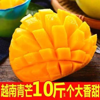 越南青玉芒果帶箱10斤現摘新鮮水果批發包郵金煌特大青芒果整箱