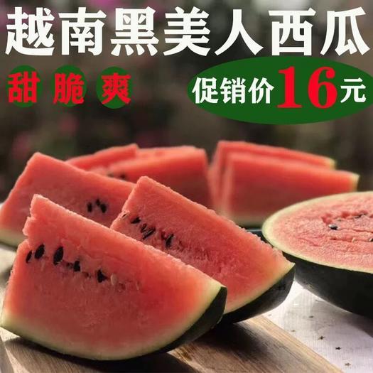 廣西壯族自治區南寧市西鄉塘區 越南黑美人西瓜4-5斤新鮮包郵皮薄黑籽甜瓜應季熱帶水果當季整