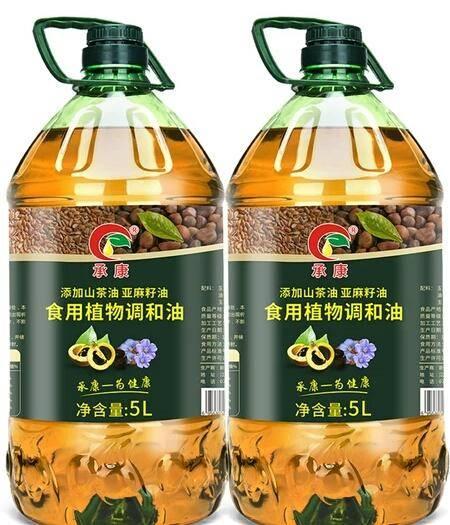 吉安安??h壓榨山茶油 山茶亞麻籽食用調和植物油5L×2促銷價188元包郵