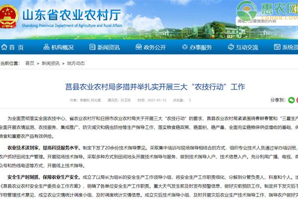 """莒县农业农村局多措并举扎实开展三大""""农技行动""""工作"""