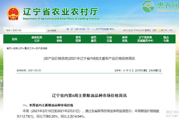 辽宁省内第6周主要粮油品种市场价格简讯