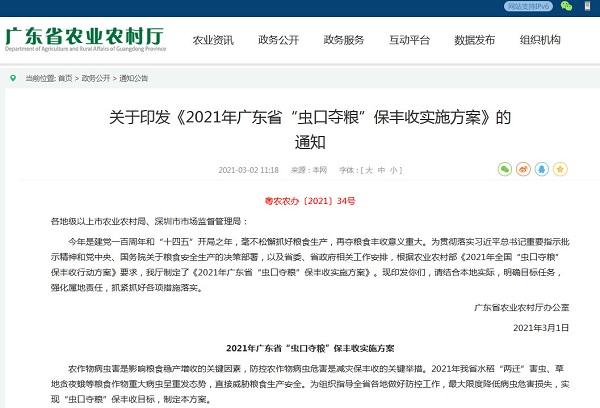 """2021年广东省""""虫口夺粮""""保丰收实施方案"""