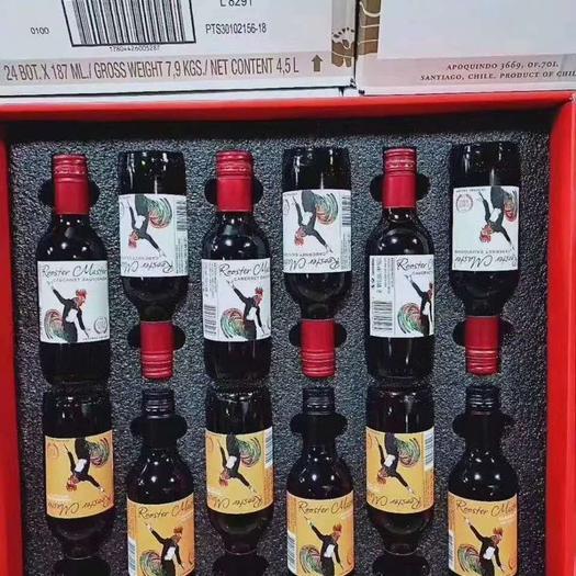 天津東麗紅酒 原裝進口智利公雞大師干紅葡萄酒小瓶裝187.5ml