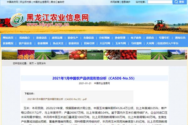 2021年1月中国农产品供需形势分析